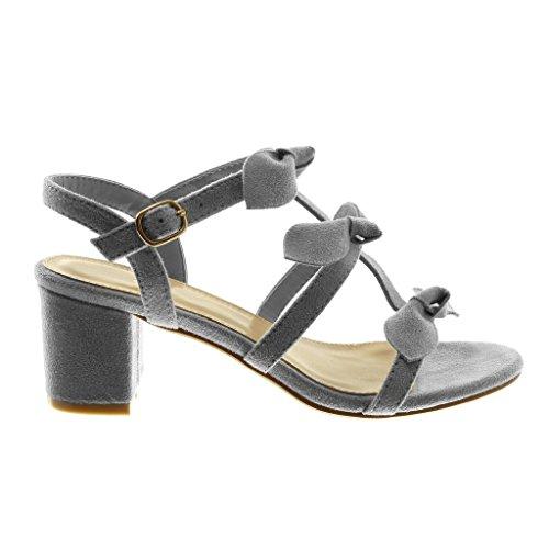 Sandalias 6 Multi Alto cm Correa Moda Angkorly Mujer Zapatillas Tobillo 5 Nodo Ancho Tacón Gris de Correa EOx1Aqw