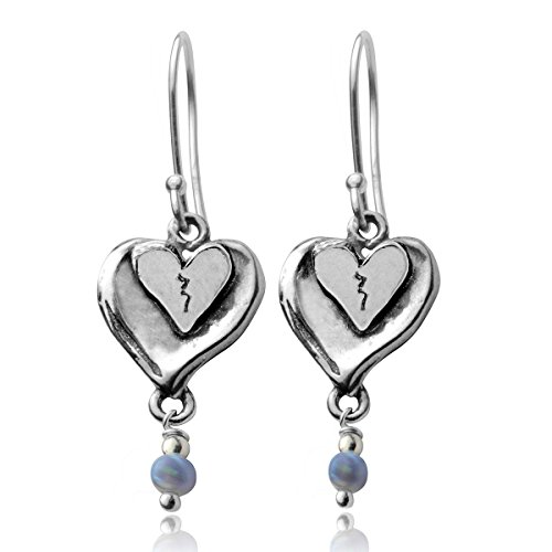 Heart Dangle Earrings 925 Sterling Silver with Created Blue Fire Opal Beads Graceful and Elegant