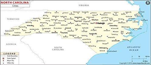 Amazon.com : North Carolina Cities Map (36