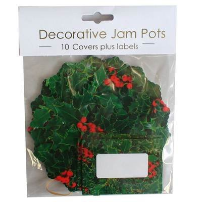 10 Christmas Holly Jam Pot Covers and Labels