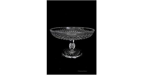 "8/"" Vintage Depression Style Glass Pedestal Fruit Stand Bowl Centerpiece"