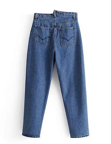 Mujer Jeans para Color Chic YFLTZ Blue Sólido Street Pantalones qXwnBq5xTf