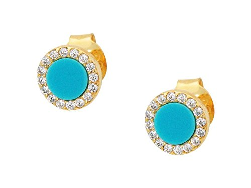 Mini Circle Simulated Turquoise Sparkling Stud Earrings in 14k Gold Plated Sterling (Rose Gold Turquoise Earrings)