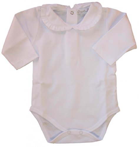 Kissy Kissy Baby Basic Long Sleeve Collared Bodysuit With Ruffle Collar-White-12-18 Months Ruffle Collar Suit