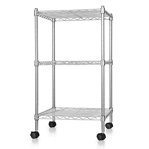 zanmini Storage Shelves, 3-Tier Multifunction Metal Wire Shelves with 4 Rolling Casters and 4 Leveling Feet, Flexible, Adjustable, - Four Rolling Casters