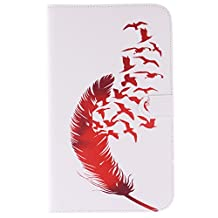 Galaxy Tab 3 8.0 Case - TIPFLY Leather Stand Folio Case Shell with [Card/Cash Slots] Magnetic Closure Flip Protective Cover for Samsung Galaxy Tab 3 8.0 inch SM-T310 Tablet (Red Feathers)
