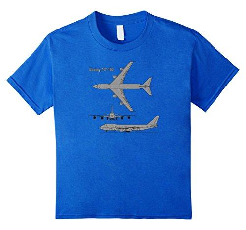 unisex-child 747 Airplane Hand drawn Graphic Tee Shirt plane t-shirt 12 Royal (Airliner Plane)