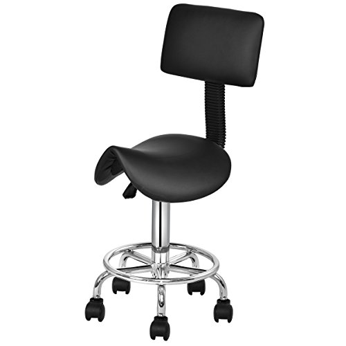Giantex Hydraulic Salon Stool Rolling Saddle Chair with Backrest, Rolling Clinic Spa Massage Stool Chair, Adjustable Stool for spas beauty salons office, Black