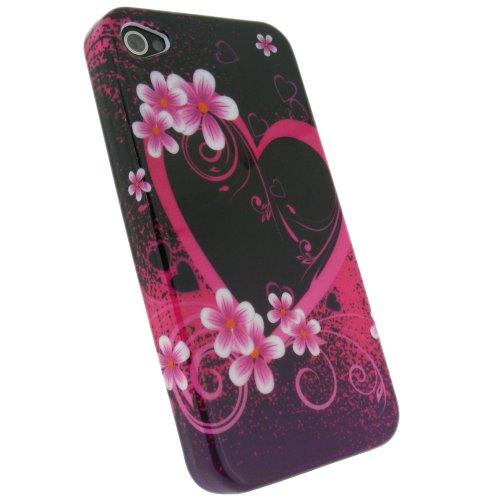 igadgitz Hartschalentasche Hardcase Etui Tasche Case Hülle Schutzhülle in Pink Rosa mit Motif Herz und Blumen für Apple iPhone 4 HD 16gb & 32gb + Selbstklebende Display Schutzfolie