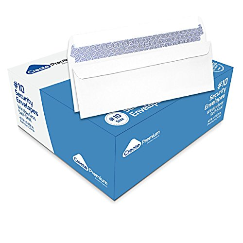 #10 Self-Seal Windowless Security Envelopes, Premium Business Envelopes for Secure and Confidential Mailing - Strong Quick-Seal Security Tint pattern - 4 1/8 x 9 1/2 Inches - 24 Lb - 500 Counts (Tint Security)