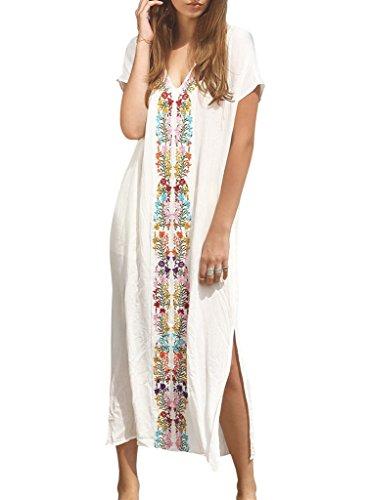 Elegeet Embroidered Turkish Kaftans Beachwear Bikini Cover up Dress, White ,One Size