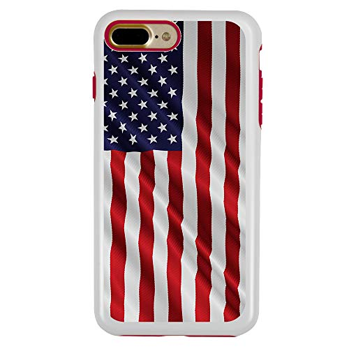 Dog Protector Case - Guard Dog Star Spangled Banner Rugged American Flag Hybrid Phone Case for iPhone 7 Plus / 8 Plus with Guard Glass Screen Protector, White with Red Silicone