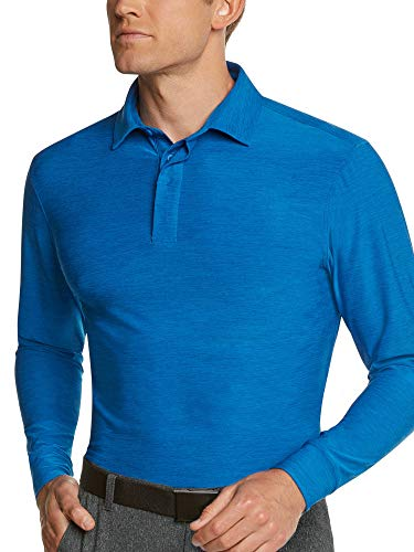 Men's Dry Fit Long Sleeve Polo Golf Shirt, Moisture Wicking and UV Protection ()