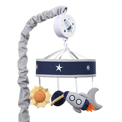 Lambs & Ivy Milky Way Musical Baby Crib Mobile - Blue/Navy/Gray Space Theme (Baby Crib Blue Mobile)