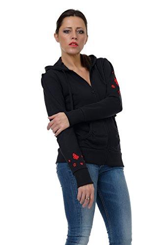 capucha capucha 3elfen con cremallera flores Sudadera y mujer y con rojas de para chaqueta wqFqxTZa