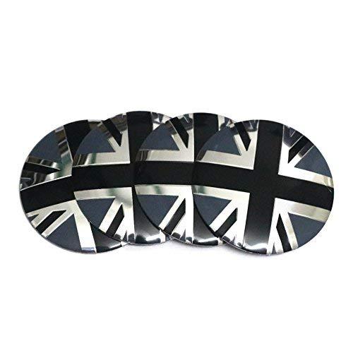 4 x 56,5 mm tama/ño bandera de Inglaterra centro de rueda Hup Caps emblema aluminio 3d abovedado calcoman/ía negro blanco bandera de Reino Unido calcoman/ías gr/áficas insignia para veh/ículo Motor Auto