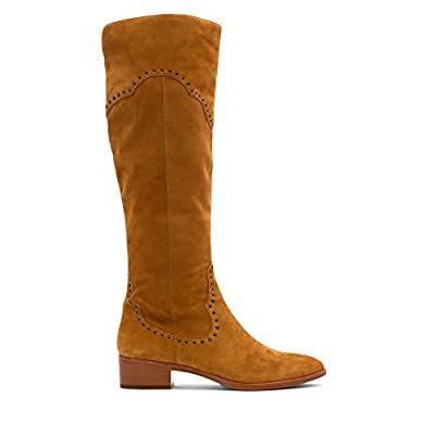 Frye Ray Grommet Tall Camel Suede 5.5: Shoes