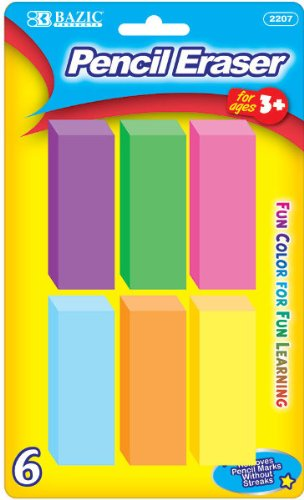 Bazic Neon Bevel Eraser - 6/Pack 72 pcs SKU# 347042MA by Bazic (Image #1)