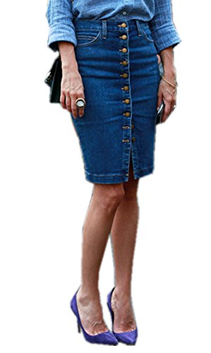 TENGFU Women's Classic Button Front Boycon Casual High Waist Stretch Midi Denim Skirt Blue ()
