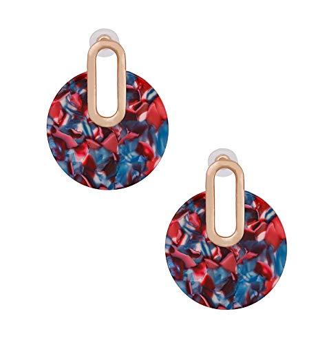 Acrylic Earrings For Women Girls Statement Drop Dangle Earrings Bohemian Hoop Earring Mottled Resin Stud Earrings Fashion Jewelry (Red) ()