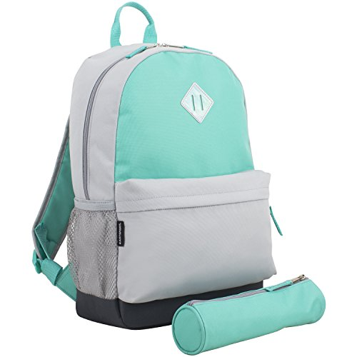 Eastsport Dome Backpack with FREE Pencil Case, Turquoise/Gray