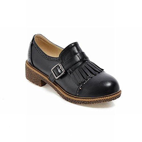 Carol Shoes Women's Concise Casual Low Heel Tassels Buckles Loafer Shoes Black ytVWV9Asl