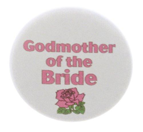 "Pin Godmother (Godmother of the Bride Pink Rose 2.25"" Large Pinback Button Pin Wedding Bridal)"