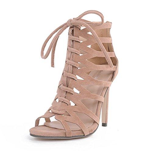 Sexy Verano Jazs® Straps New Moda Western Fashion Cross Sweet Elegante De Tacón Albaricoque Style Fino Estilo Sandalias SErYEqz