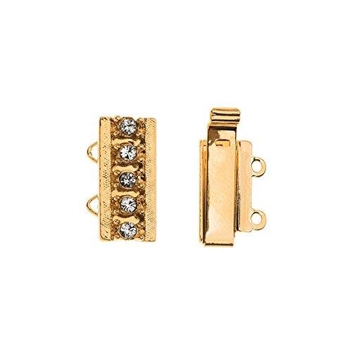 Elegant Elements, 2-Strand Box Clasp with Swarovski Crystals 16x10mm, 1 Set, Gold (Element Jewelry Bracelet)