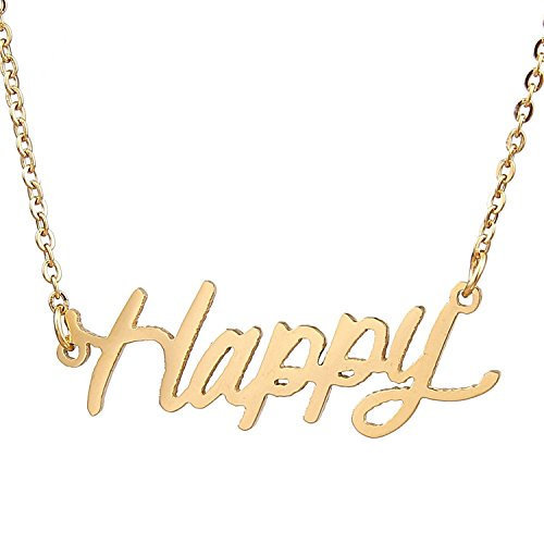 HUAN XUN Gold Plated Character Necklace for Teen Girls, Happy - Double Happiness Jewelry