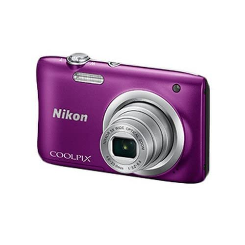 Nikon Coolpix A100 Point and Shoot Digital Camera (Purple) with Card and Camera Case