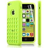 Gioiabazar Green TPU SILICONE BACK CASE COVER FOR NEW APPLE iPHONE 5C RETRO DOTS HOLE