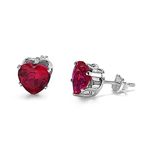 Ruby Heart Created Earring 5mm (Stud Post Heart Earring Simulated Red Ruby 925 Sterling Silver)
