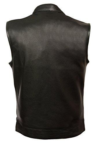 Milwaukee SOA Men's Naked Cowhide Leather Vest Zipper & Snap Front w/ 2 Inside Gun Pockets & Single Panel Back (XX-Large)