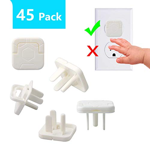Outlet Covers Baby Proofing White-3 Prong (45 Pack), BERACKY Outlet Plug Covers with Hidden Pull Handle, No Easy to Remove by Child, Safety Protector Prevent Your Baby from Accidental Shock Hazard
