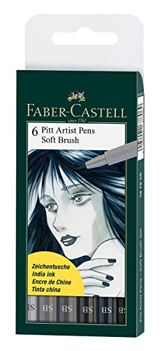 Faber Castell Pitt Artist Brush (Faber-Castell Pitt Artist Soft Brush Pens, Set of 6, Shades of Grey (FC167806))