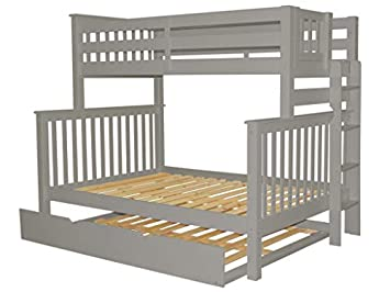 Bedz King Bunk Beds Twin over Full Mission Style with End Ladder and a Full Trundle, Gray