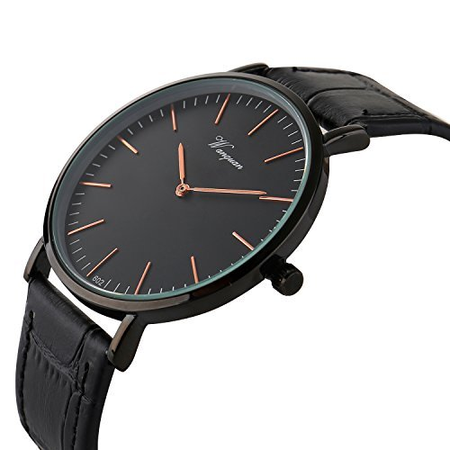 Takyae Men's Slim Leather Band Casual Analog Quartz Watch