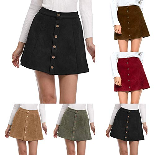 Haluoo Faux Suedette Skirt, Women's Solid Vintage Faux Suede Button Closure High Waist Plain A-Line Short Mini Skirt (Small, Red)