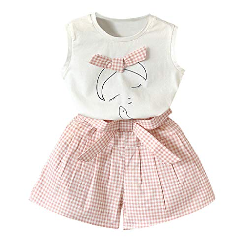 Baby Girl Outfit Sets Summer,Toddler Kids Baby Girls Outfits Clothes Vest T-Shirt Tops+Plaid Belt Shorts Set,Baby Girls' Layette Sets,Hot Pink,2-3T ()