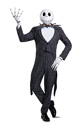 [Disney Men's Plus Size Jack Skellington Prestige Adult Costume, Multi, XX-Large] (Skeleton Jack Costumes)