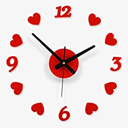 Creative Love Gift Wall Clock Free Combination Of Living Room Art Red Heart-shaped Wall Clock3D Clock Hands, Timelike DIY Large Clock Hands Needles Wall Clocks 3D Home Art Decor Quartz Clock Mechanism