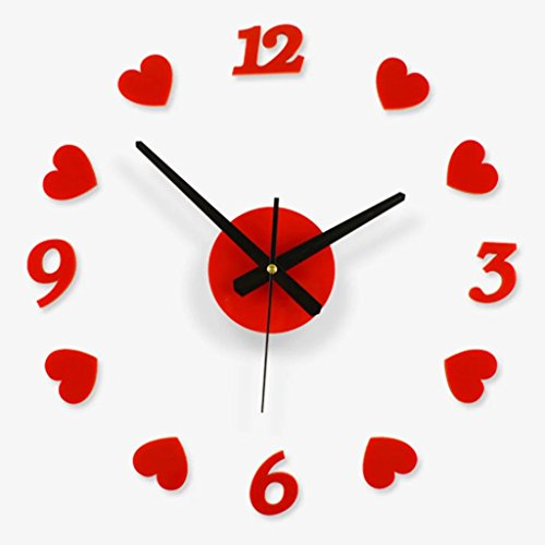 Creative Love Gift Wall Clock Free Combination Of Living Room Art Red Heart-shaped Wall Clock3D Clock Hands, Timelike DIY Large Clock Hands Needles Wall Clocks 3D Home Art Decor Quartz Clock Mechanism - Heart Shaped Clock