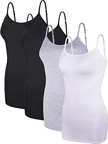 Boao 4 Pieces Women's Basic Camisole Adjustable Long Spaghetti Strap Tank Top Solid Modal Stretchy Tanks (Color Set 2, - Women Camisole Set Solid