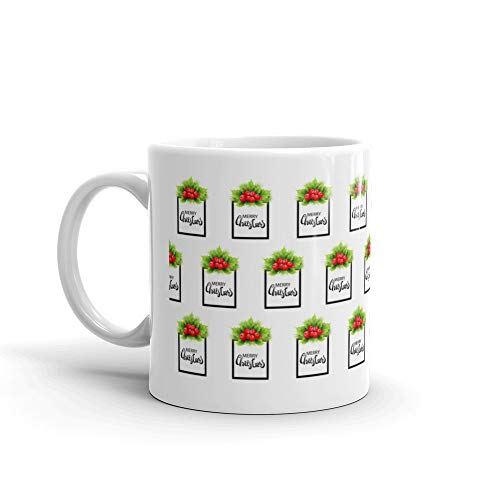 Realistic Holly And Fir Tree Branches Christmas Ornament Holly Green Leaves And Red Berries Isolated On White Background Coffee Mugs ()