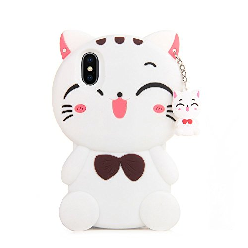 iPhone X Case Silicone, Miniko(TM) Lovely 3D Cute Cartoon Funny Good Lucky Fortune Cat Kitty with Cute Bow Tie Gel Rubber Back Case Cover for iPhone X Teens Girls Women White