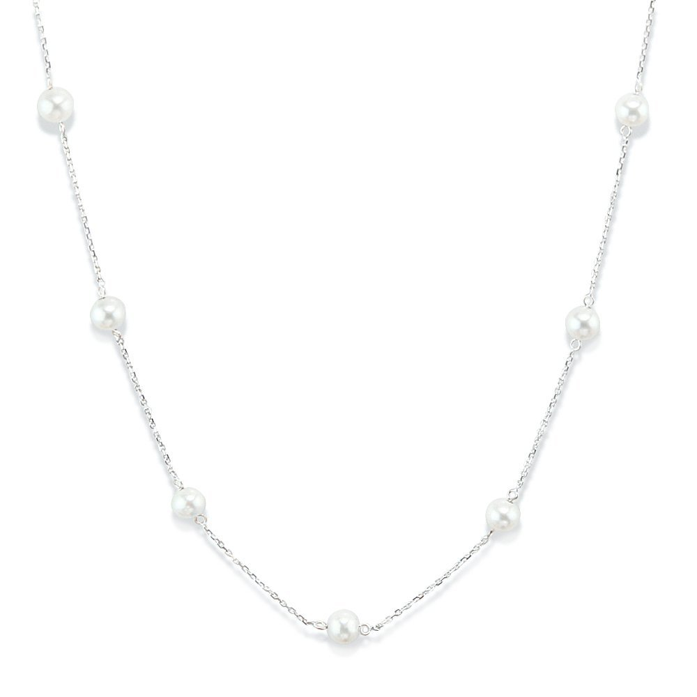 14K White Gold Tin Cup Necklace With Cultured Freshwater Pearls 16 -20 Inch