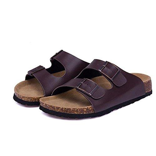 Summer Beach Cork Pantoufles Casual Double Boucle Sabots Glissières Femmes Slip Sur Flip Flop Chaussure Plus La Taille Brown 3OI79dS4r