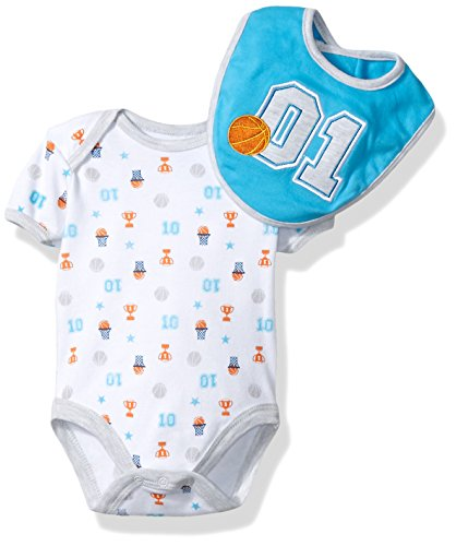 BON BEBE Baby Boys' 2 Piece S/s Lap Shoulder Bodysuit and Bib Set, Blue Basketball, 0-3 Months