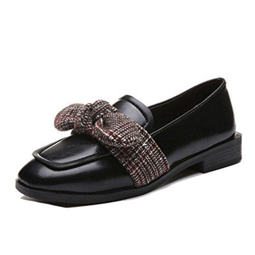 Giy Kvinners Klassiske Retro Kroner Loafers Firkantet Tå Slip-on Kjole Tilfeldig Blokk Hæl Bue Mokasinversjon Oxford Sko Svart